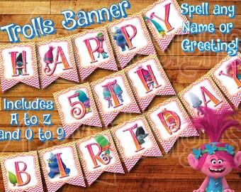 Printable Trolls Birthday Banner Trolls Party Decoration - Trolls Banner / Bunting / Penant Kit Instant Digital Download