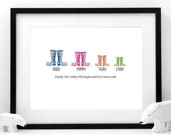 Wellies Family Print