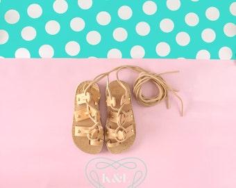 Child Studded Wrap Up Greek Summer Leather Gladiator Sandals-Natural color leather Gold Studded Detail
