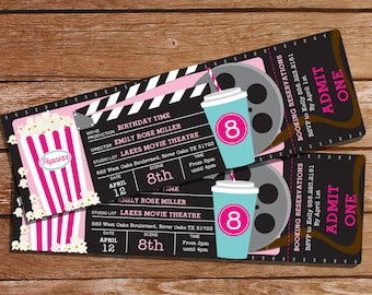 Movie Party Invitation - Girl Movie Ticket Invitation - Instant Download and Editable File - Personalize at home with Adobe Reader