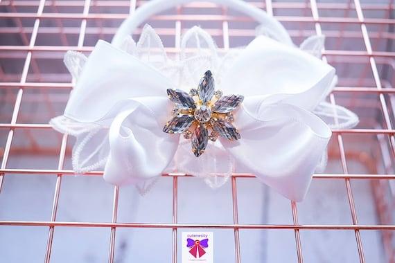 Christening white sheer and satin bow headband - Baby / Toddler / Girls / Kids Headband / Hairband / Hair bow /Baptism /First Communion