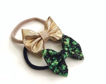 Lucky Bows - bow headband, nylon bow, baby headband, St. Patrick's Day bows, gold, Shamrock