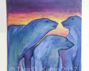 "Polar Companions - Original Acrylic painting 14 x 18"""