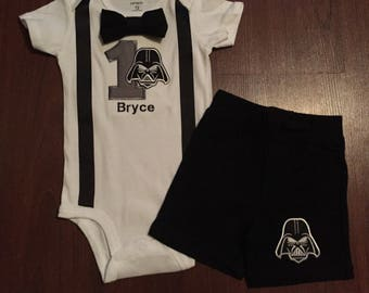 Star Wars 1st birthday Outfit, Star Wars boy birthday outfit, Baby boy first birthday, Star Wars party, Star Wars smash, Darth Vader