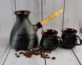 Ceramic coffee pot Black Coffee maker Turkish coffee pot Birthday gift Father gift Best friend Gift for women Sister gift Morning coffee