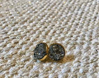 Black Silver / Gold Stud Earrings