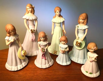 """Vintage Enesco """"Growing Up"""" collectible birthday girl brown hair figurines - your choice"""