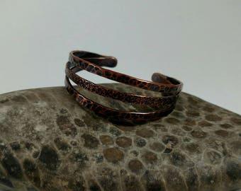 3 strand, dual texture, copper bracelet.