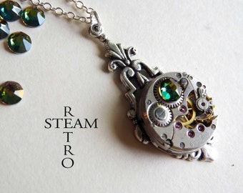 Art deco steampunk vitrail  necklace - steampunk jewellery - steampunk necklace - personalized jewelry - Christmas gift - steampunk - gothic