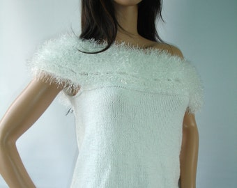 White knit tunic with crochet yoke - ready to ship