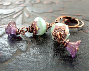 Mint and Lavender Czech Glass Leverback Earrings - Flower Dangle Earrings in Light Green and Purple with Antique Copper Filigree