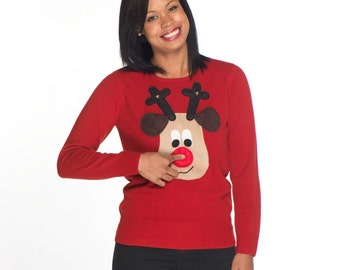 Squeaky Nose Rudolph Ladies Christmas Sweater - Beige Rudolph