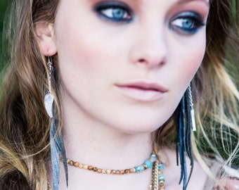 Leather Feather Earrings with Shi Piece in Gorgeous Greys