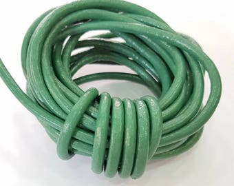 Leather Cord 1mt-3.3 ft (5mm) Green Round Leather Lacing G7607