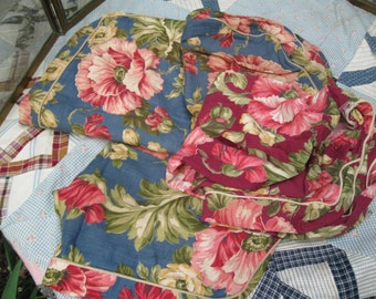 Vintage Set of 4  Floral Pillow Covers, c 30's Poppies