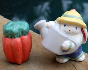Bunny Rabbit and Carrots Salt & Pepper Set - Ceramic Rabbit Figurine - Bunny Lover Gift - Porcelain Bunny Figurine - Live in Moment Vintage