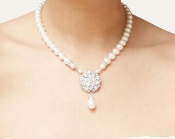 Bridal Necklace, Vintage Wedding Necklace, Crystal Bridal Jewelry, Art Deco Wedding Jewelry, Statement Bridal Jewelry, ELIZABETH