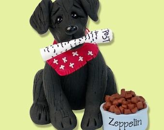 Black Labrador Retriever / Dog / Puppy / Polymer Clay Personalized Christmas Ornament