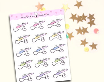 Curling Iron Planner Stickers / Hair Curler Wand Stickers / Curling Wand / Cute Planner Stickers / Pastel Rainbow Kawaii Planner Stickers