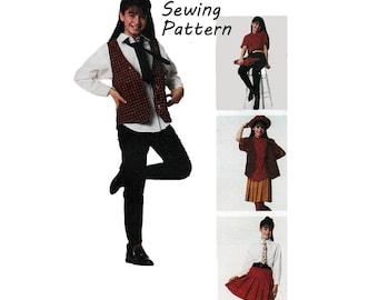"McCall's 6122 Girl's Lined Vest, Buttondown Shirt, Pleated Skirt, Stirrup Pants, Tie Sewing Pattern Sz 7 Chest 26""/ 66cm Vintage 1990s UNCUT"