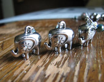 Elephant charm   silver   beaded   blue beads   rhinestone   animal charm   3D charms