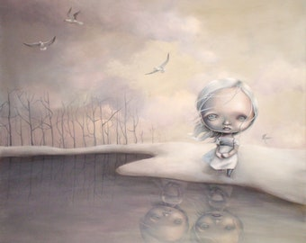 """Limited edition Giclee print """"The shore"""" A4, pop surrealism, popart, lowbrow art, juxtapoz, new contemporary, urban art"""
