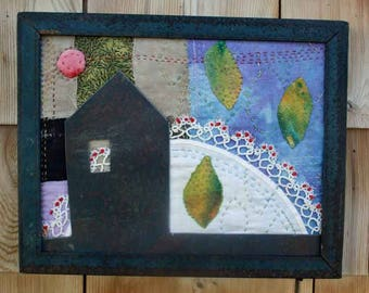 House and Field Winter's Eve Fiber Metal Mixed Media Maine Wall Art Upcycled Fabric Handstitched
