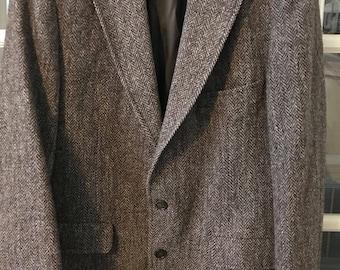 Vintage Original HARRIS TWEED Palm Beach 100% Pure Scottish Wool Men's Sports Jacket / Blazer Brown/Black/Tan Tailored in the USA Item# 212 AldbPeaAv