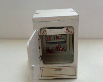 Vintage Tin Litho Brimtoy My Dolly's Fridge with Milk and Ice Cream