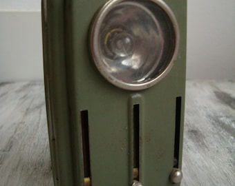 Military Green Vintage Metal Pocket Flashlight, 4 Colors 1970's , Camping lantern, Army signal, USSR, Green Old Railroad Signal, Home decor