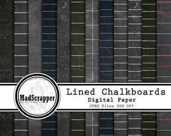 Digital Scrapbook Paper Lined Chalkboard Digital Paper 12 Patterns 5 Solids 12 x 12 Instant Download