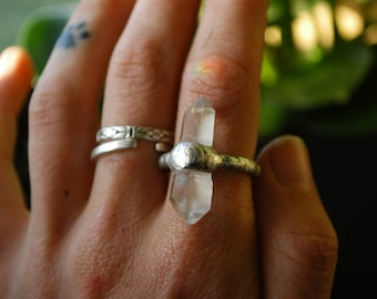 Molten Metal double terminated clear quartz point crystal ring size 7 US / UK O / S/M | Handmade soldered ring | Crystal point ring | OOAK