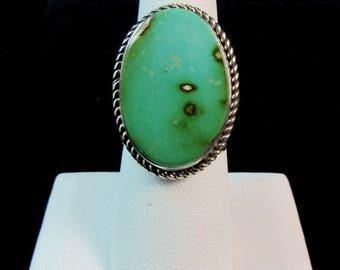 Navajo~ALBERT JAKE~Green Royston Turquoise~OVal Cut~925 Ring~Size 7-1/4~On Sale! Normally:390