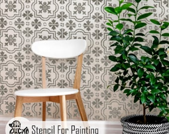 MARBELLA Tile Stencil - Mediterranean Furniture Floor Wall Craft Tile Stencil for Painting - MARB01
