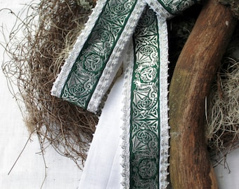 Handfasting * wedding * ritual * Celtic * medieval * habdmade, linen, white, green,.