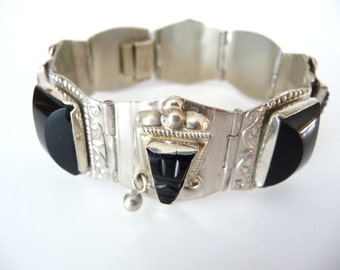 Mexican Carved Obsidian Mask Link Bracelet Silver from TreasuresOfGrace