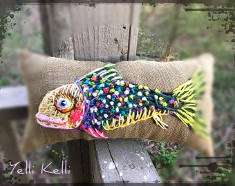 Rustic Fish Freehand Embroidered Crewel Pillow Ready to Ship YelliKelli