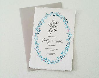 Indie Handmade Paper Wedding or Engagement Invitation with Full Leaf Wreath and Envelope
