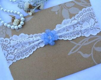 1 Wedding Garter, Keep Garter, Blue Wedding Garte, Bridal Garter, Flower Garter, Lace  Garter, Something Blue,Toss Garter, White lace Garter