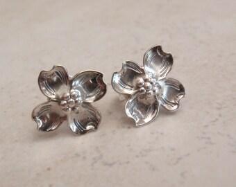 Dogwood Earrings Sterling Silver Posts Pierced Vintage