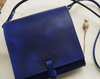 Large blue cross body leather bag, leather satchel, messenger bag, cross body pouch, Hand sewn bag.  Made in UK