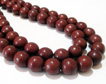 "Brown Round Beads - Smooth Round Ball Beads - Howlite Turquoise Center Drilled Gemstone - Select 10mm OR 12mm - 16"" Strand - DIY Jewelry"