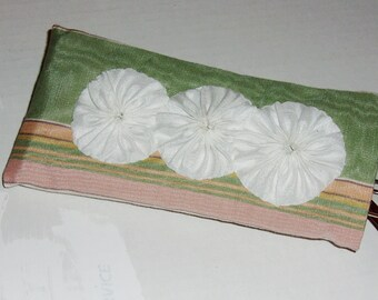 GLASSES Case (1) Peach Pink Mint White Moire, White YoYos Elegant,  Soft, Protective, Sunglasses, Readers, Spare Glasses, Handmade in US