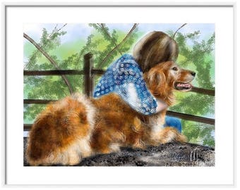 Custom Person and Pet Painting or Two People, Two animals, two cats, two dogs, gun dogs, friends, animal, custom portrait