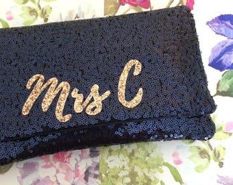 MRS Personalized sequin initiale embrayage sac à main sac à main