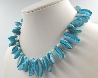 Dyed Aqua Blue and White Shell Fringe Necklace