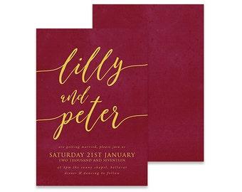 Luxury Wedding Invitation | Crowned | Printable DIY Invite, Affordable Wedding Invitation | Maroon and gold invitation