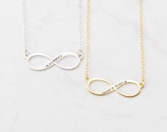 Custom Infinity Necklace - Personalized Coordinates Necklace - Location Coordinates - Sterling Silver Name Jewelry