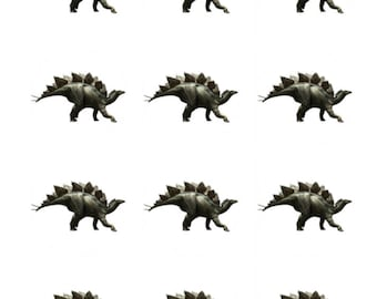 12 x Stegosaurus Dinosaurs Edible Stand Up Wafer Cupcake Toppers x 12