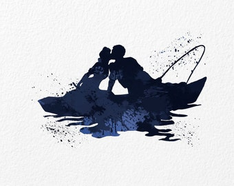 Watercolor Art Kissing Fishing Couple gift Modern 5x7 8x10 11x14 Wall Art Decor Ocean Illustration Art Wall Hanging Loving Fisherman